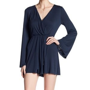 NSR Romper Cute Bell Long Sleeves Blue Purple